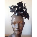 Black Patent Leather Feather Headpiece