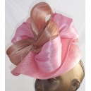 Straw Flounce Beret with Silk Abaca