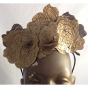 Floral Pattern Gold Leather Crown
