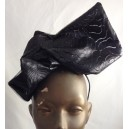 Patterned Leather Pouf Hat Black