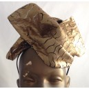 Patterned Leather Pouf Hat Gold